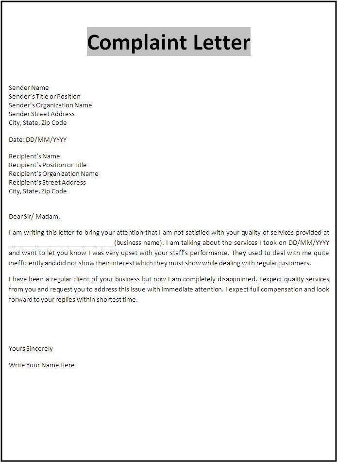 Free printable sample customer complaint response letter serves as - business complaint letter format