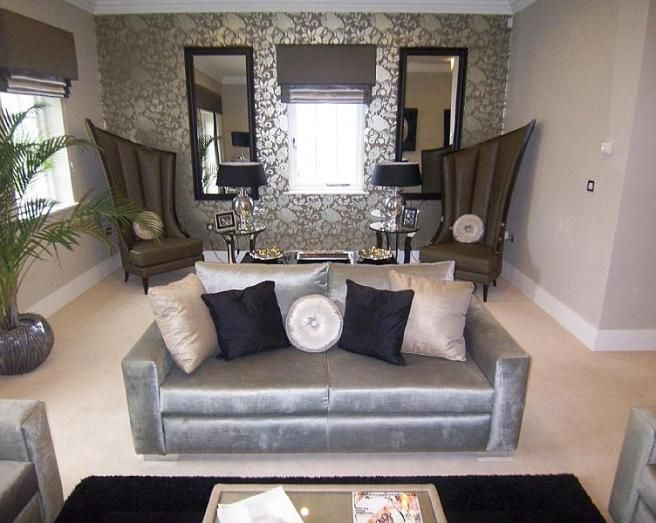 photo of designer grey silver metallic living room lounge with - silver living room furniture