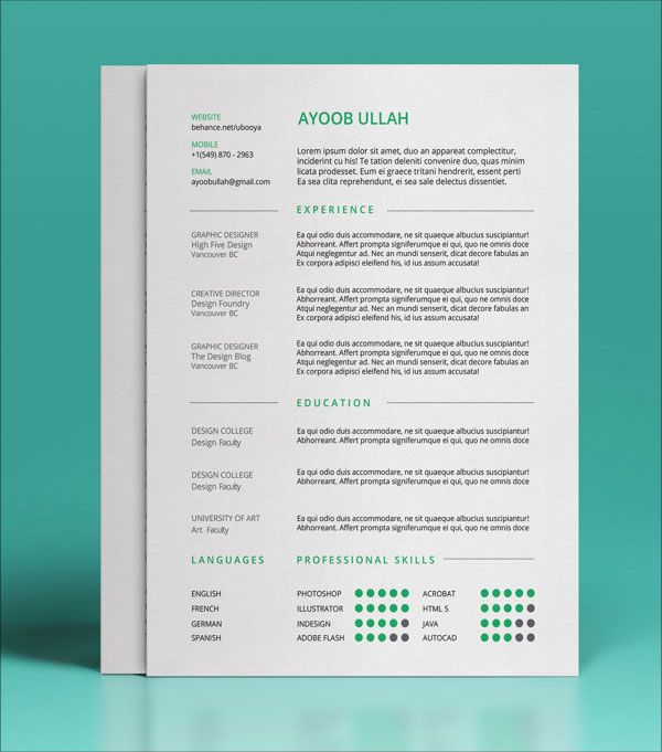 10 best free resume cv templates in ai indesign psd formats - Real Free Resume Templates