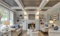 Great photo of coffered ceiling and fireplace detail