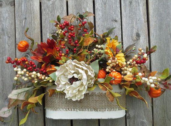Fall Wreath, Flower Arrangement, door decor, Silk flowers, Cottage - silk arrangements for home decor