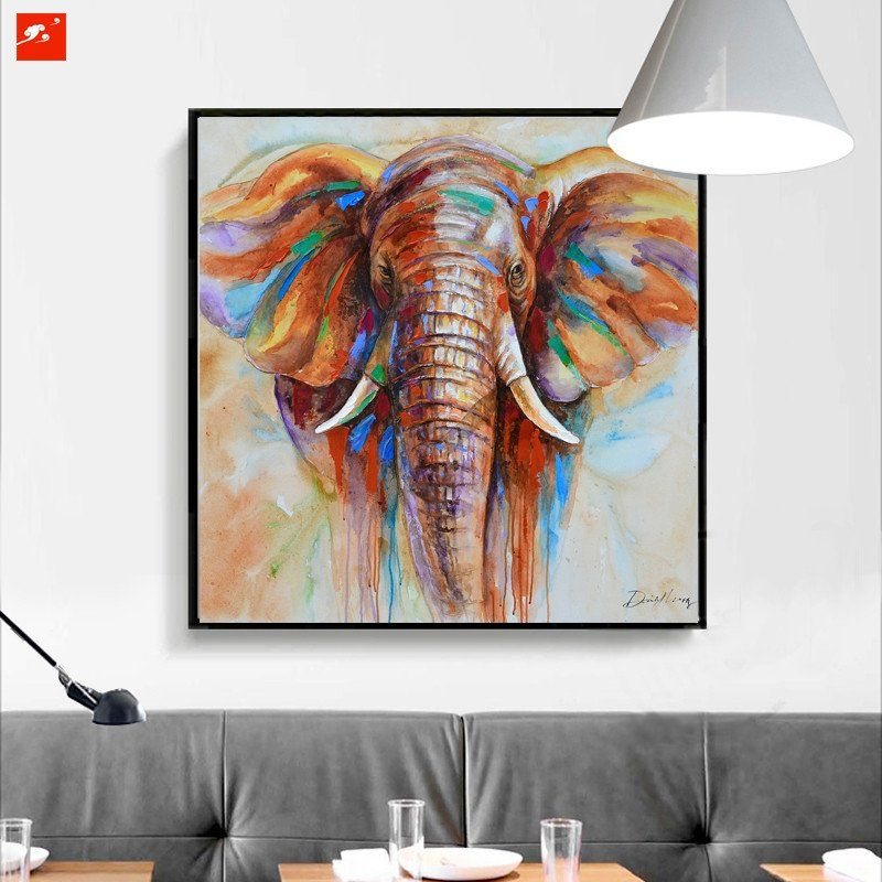 1 Panel Colorful Elephant Wildlife Unframed Modern Wall