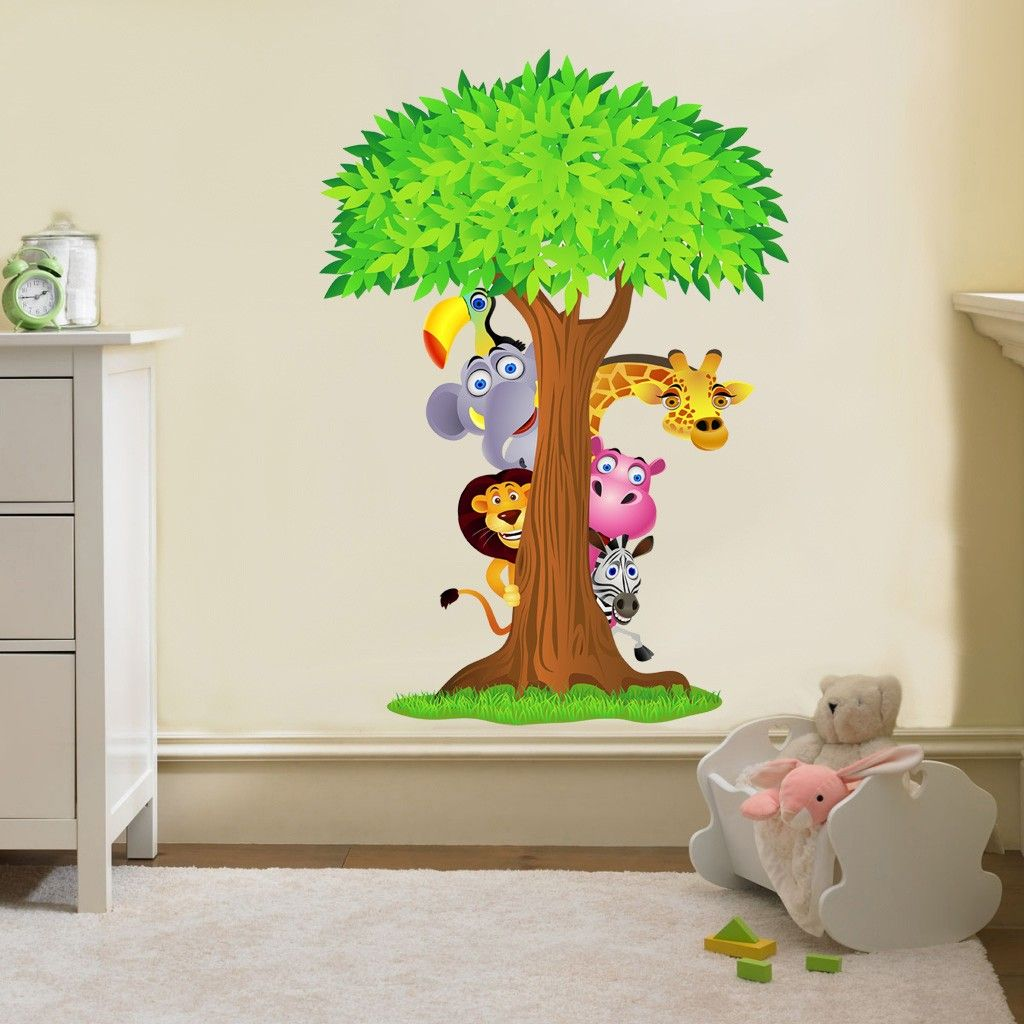 Bedroom Wall Art Trees Details About Safari Animals Tree Decal Removable Wall