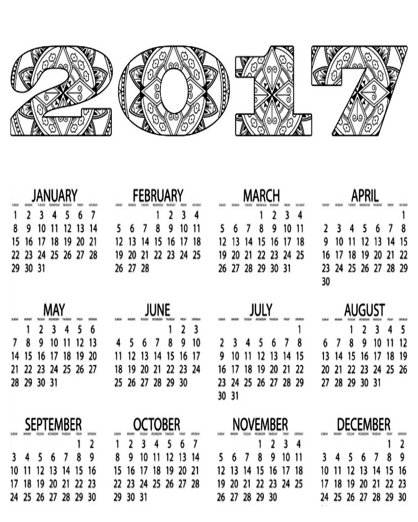Free coloring pages march -  Free Printable 2017 Calendar Coloring Page Download