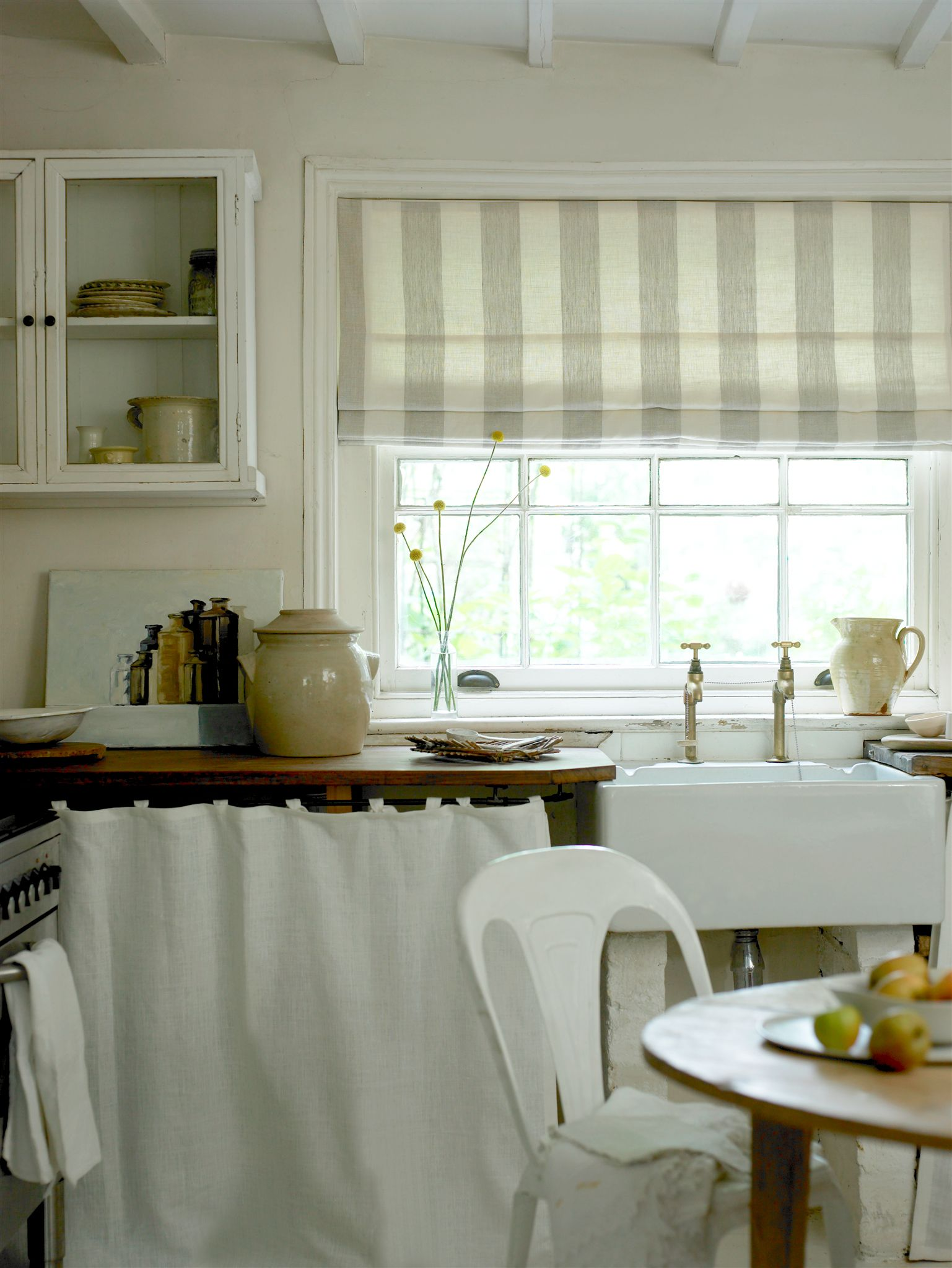 I love this country kitchen roman blind in broad stripe also available as ready made
