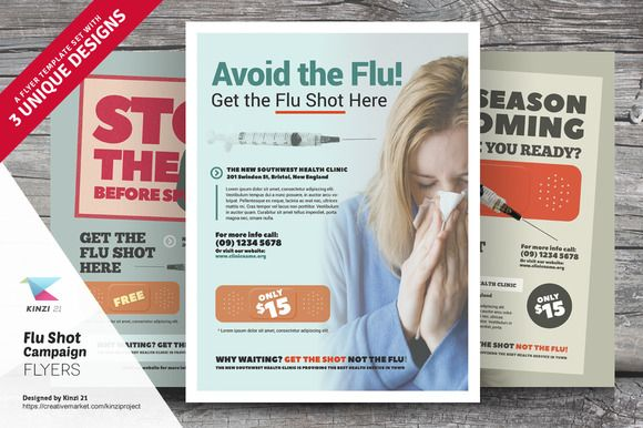 Flu Shot Campaign Flyer Templates by kinzi21 on @creativemarket - campaign flyer template