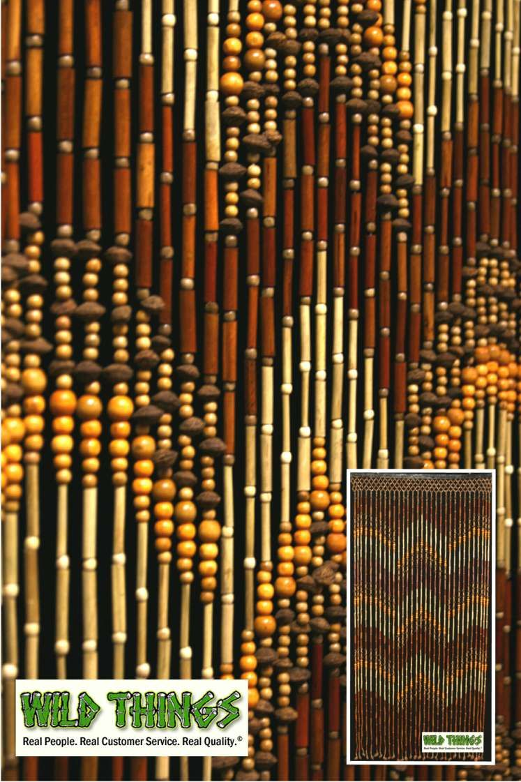 This awesome wooden beaded curtain is made out of bamboo wood and peach pits