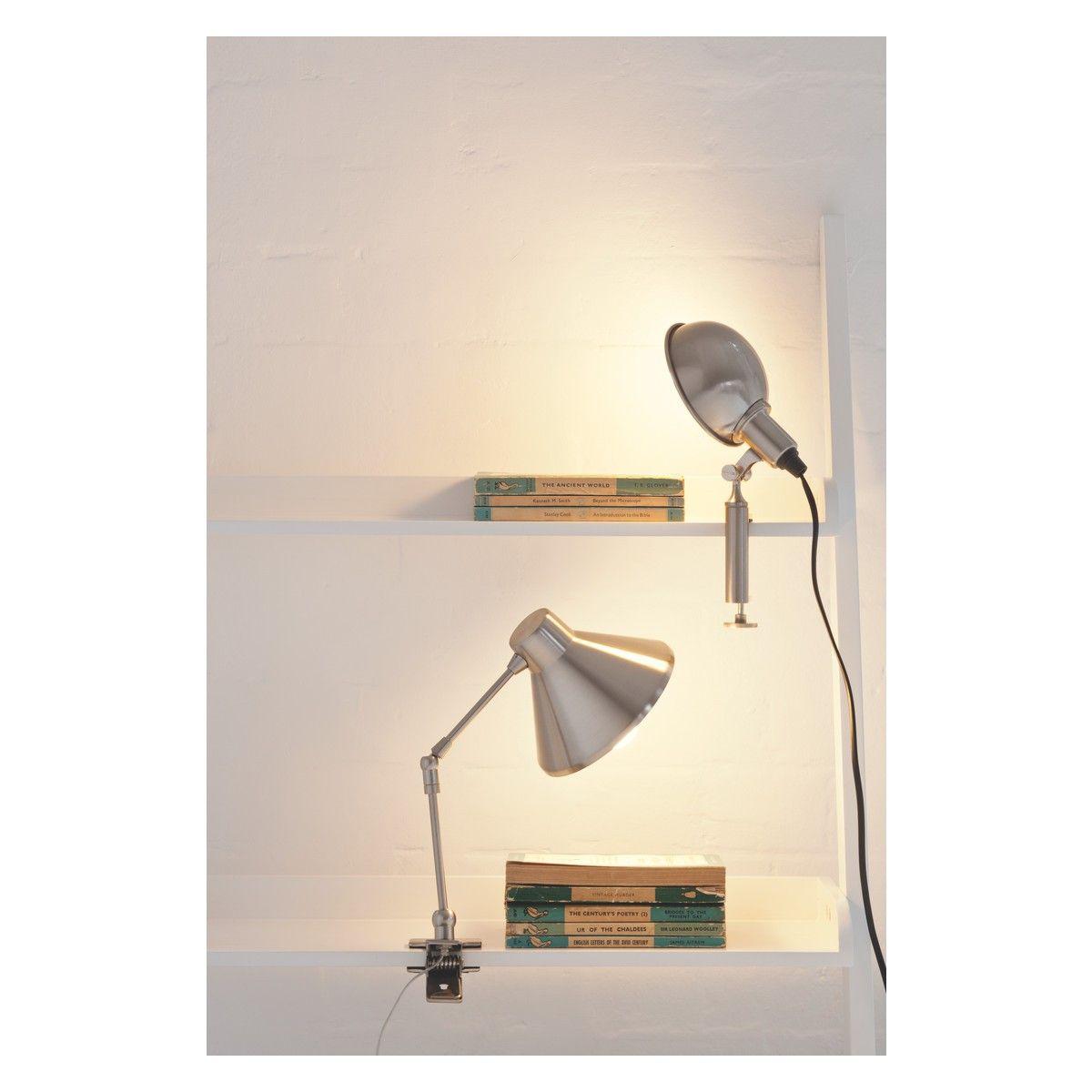 BOBBY Silver brushed metal clamp desk lamp
