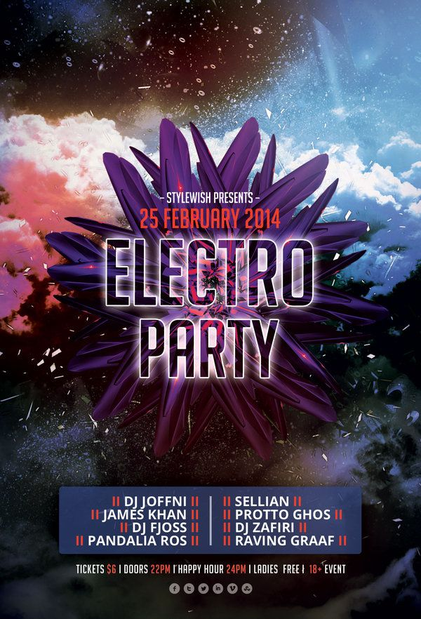 Electro Party Flyer Party flyer, Electro music and Psd templates - electro flyer