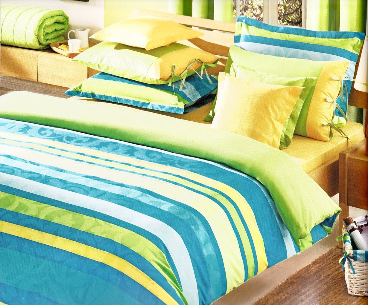 Custom queen size ocean blue turquoise lime green yellow striped and damask print bedding set