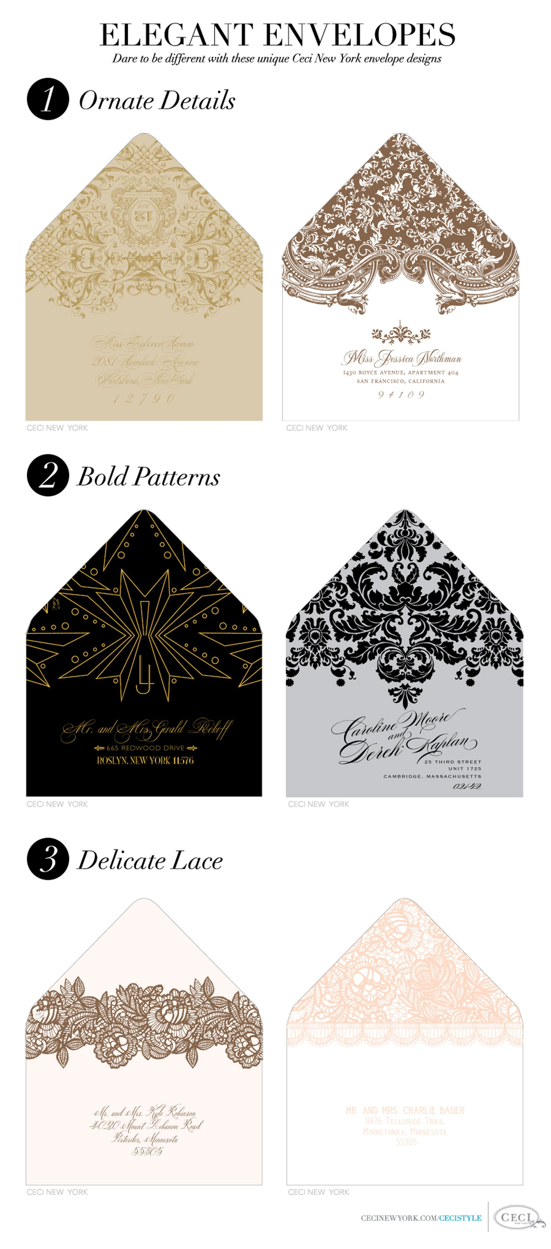 wedding invitations envelopes Think out side the invitation with Elegant Envelopes Dare to be different with these unique Ceci New York envelope designs