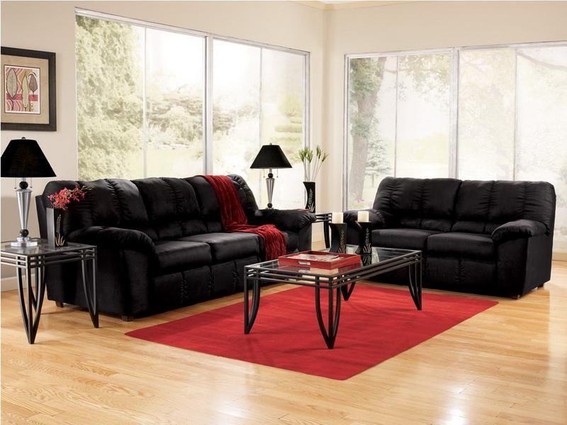 Cheap Living Room Furniture Sets Modern Black Sofa Interior Decor - cheap living room decor