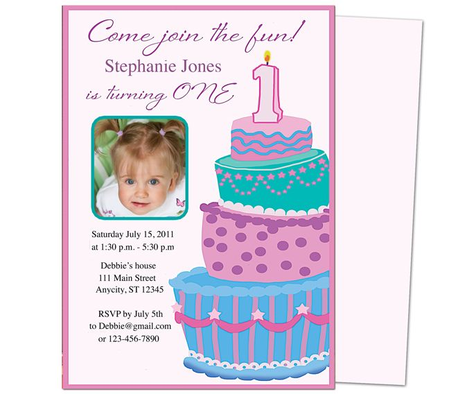 Sweet Cakes 1st Birthday Invitation Templates Great template for - free first birthday invitation template