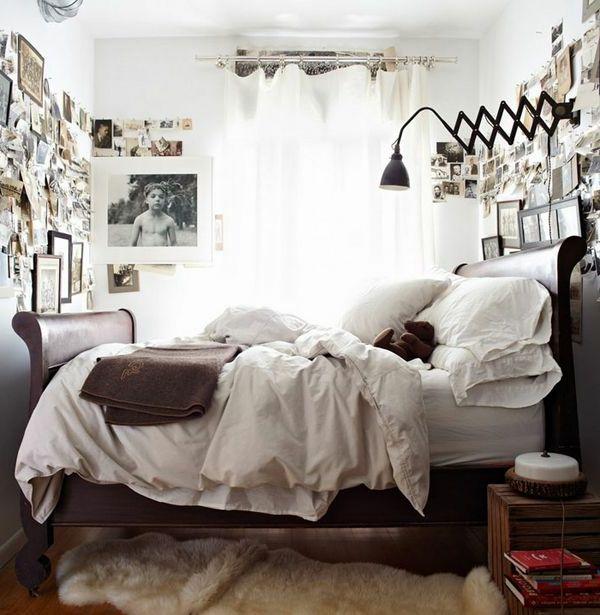 kleines schlafzimmer einrichten fellteppich bilder luftige weiße - schlafzimmer 14 qm einrichten