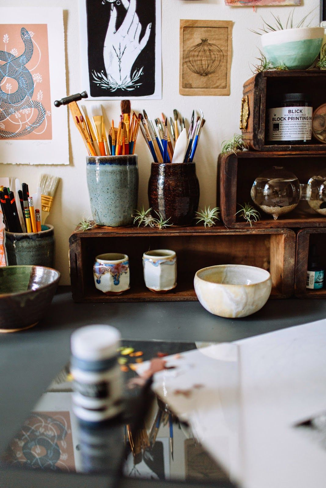 Art Studio Decor Moon To Moon The Workspace Of Artist Joëlle Workman