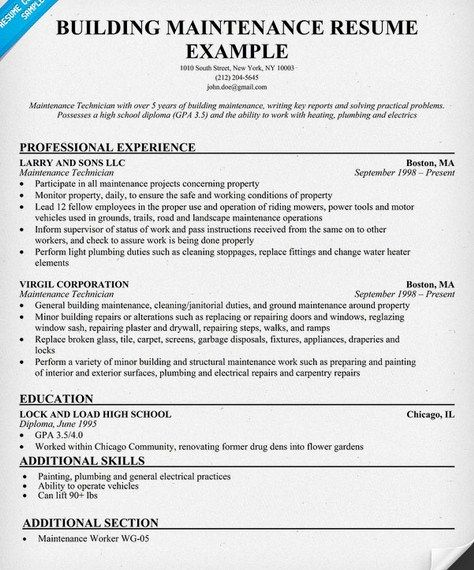 Building Maintenance Resume Sample - http\/\/getresumetemplateinfo - maintenance resume template
