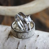 Deer Antler Wedding Ring Set, His And Hers Matching ...
