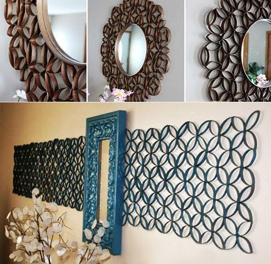 kreative-wandgestaltung-in-blau-mit-deko-aus-papier-und-spiegel - kreative wandgestaltung