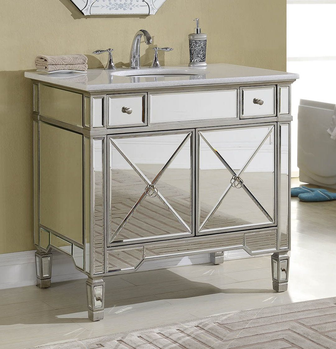 Mirrored Bathroom Vanity With Sink This Adelina 36 Inch Mirrored Silver Bathroom Vanity Will