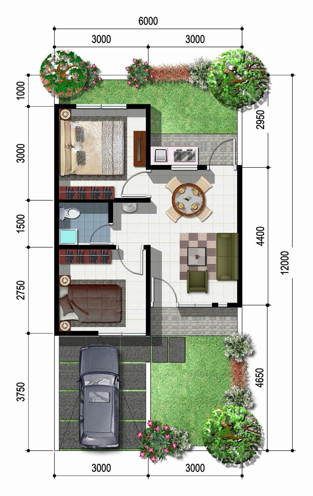 Sketsa rumah type 45 1 lantai model minimalis