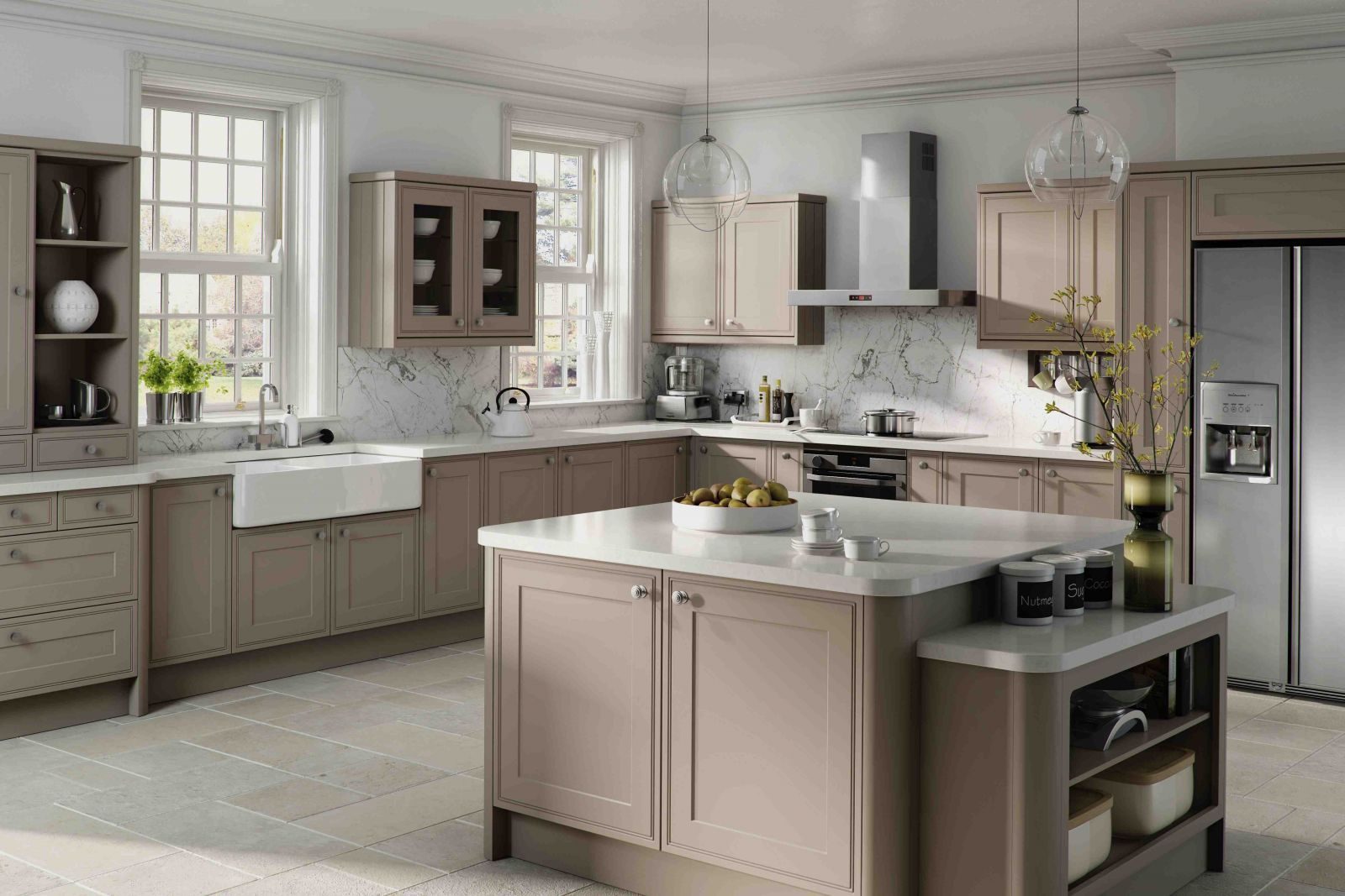 Taupe Quartz Countertop Taupe Kitchen Cabinets And White Countertops