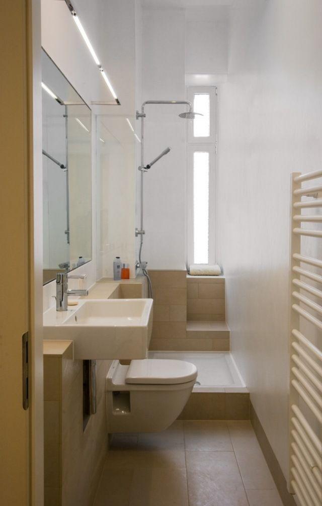 ideen-kleine-bader-schmales-badezimmer-dusche-beige-bodenfliesen - ideen fur kleine bader