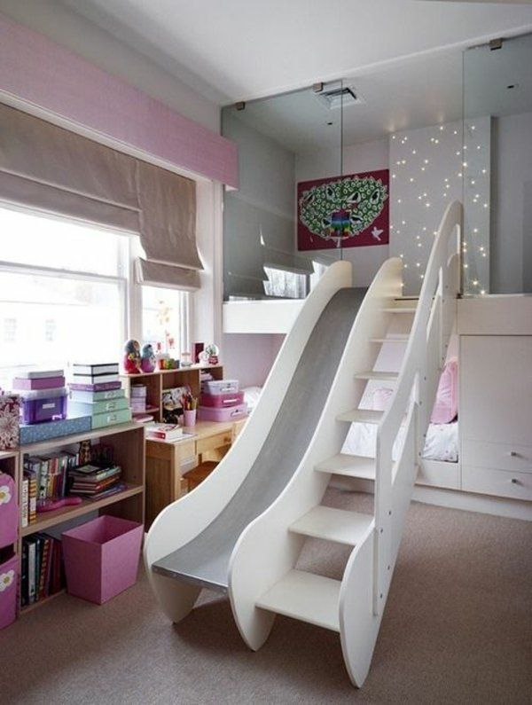 kinder schlafzimmer gestalten bett rutsche treppe schreibtisch - schlafzimmer einrichten spiele