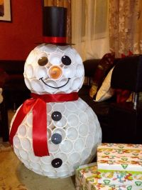 "Snowman out of plastic cups. | My Little Pumpkin ""ANDY ..."