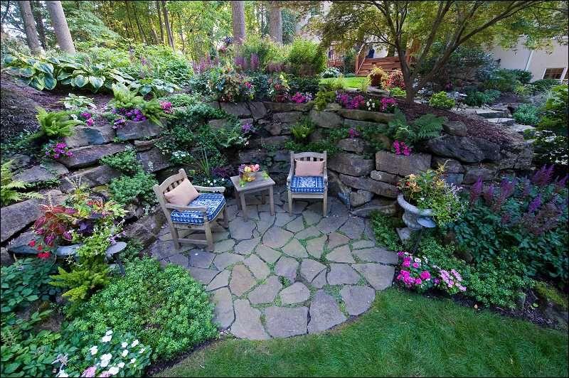 Grotto garden with deck in back ground: Galium odoratum at