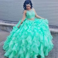 Mint Green Two Piece Quinceanera Dresses 2016 Ruffles ...