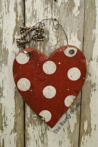 Valentines Day Decor, Wood Heart, Polka dot Valentine ...