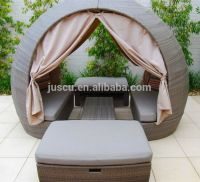 Rattan Round Outdoor Lounge Bed Outdoor Furniture Daybed ...