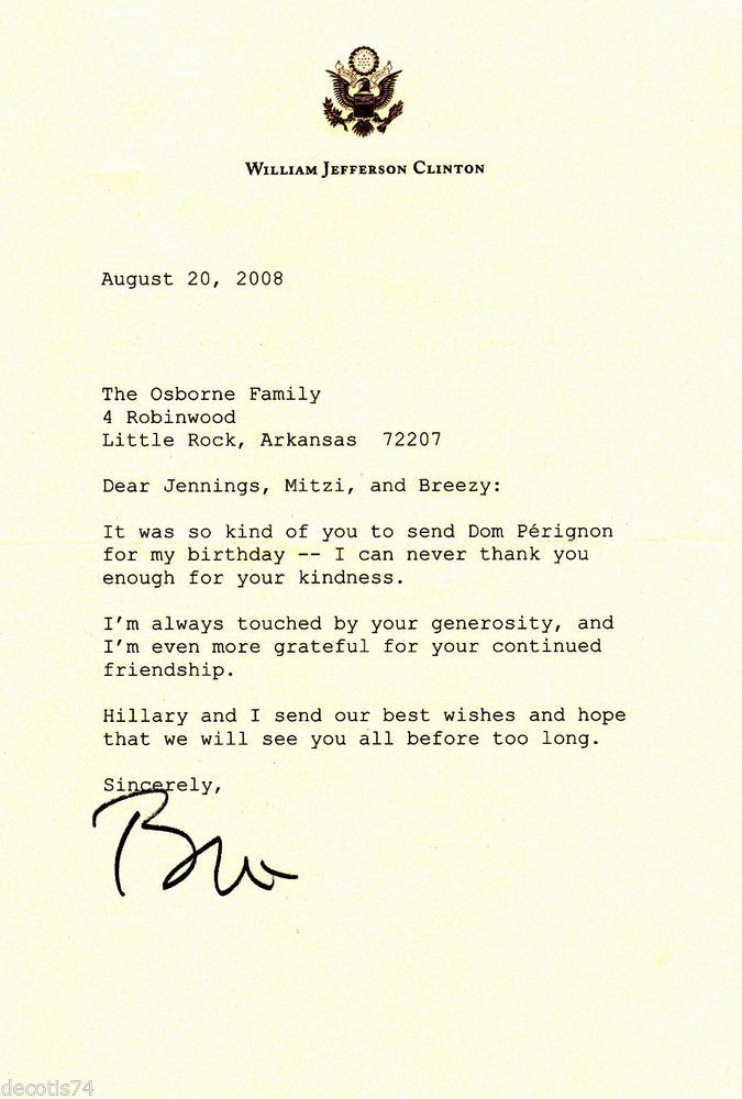 BILL CLINTON AUTOGRAPH \/SIGNED LETTER TYPED ON BILL CLINTON - guarantee letter