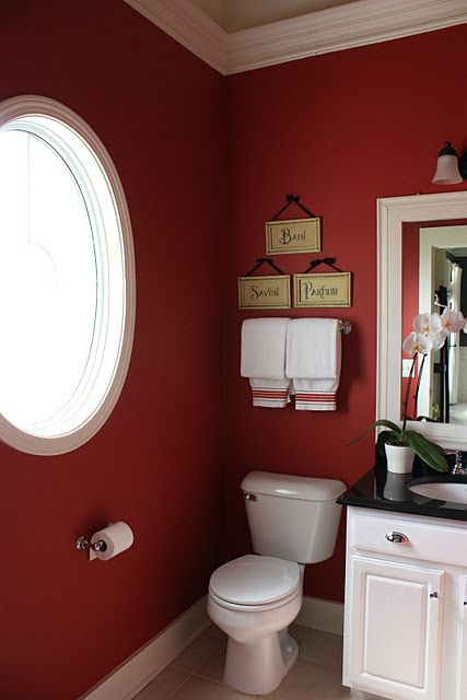 love these colors--they wouldnu0027t be too overwhelming in a bathroom - red bathroom ideas