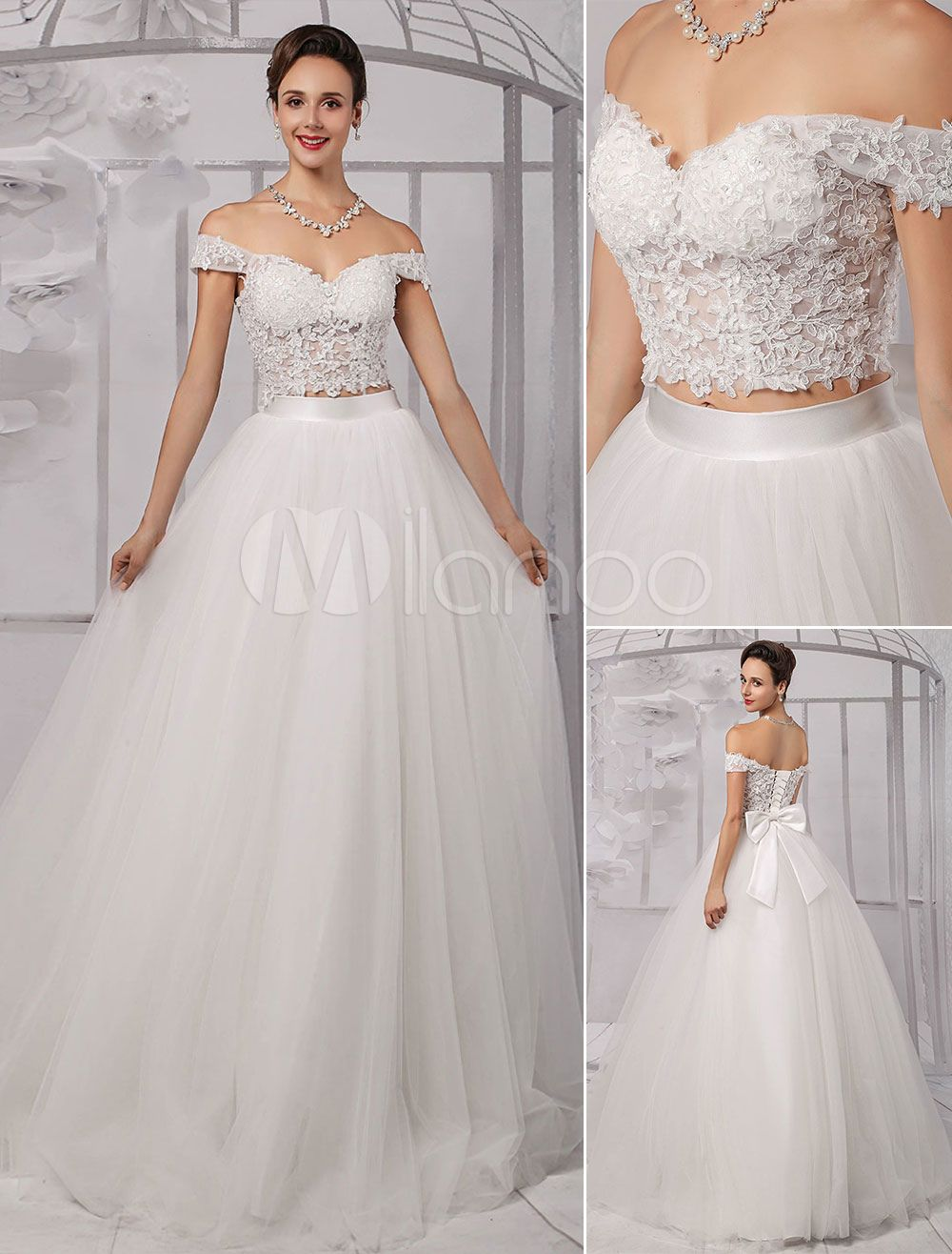 crop top wedding dress Two Pieces Crop Top Off the shoulder Ball Gown Wedding Dress With Tulle