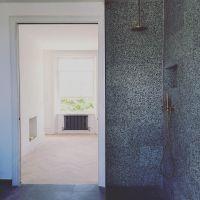 Terrazzo bathroom, terrazzo shower, Brass, green terrazzo ...