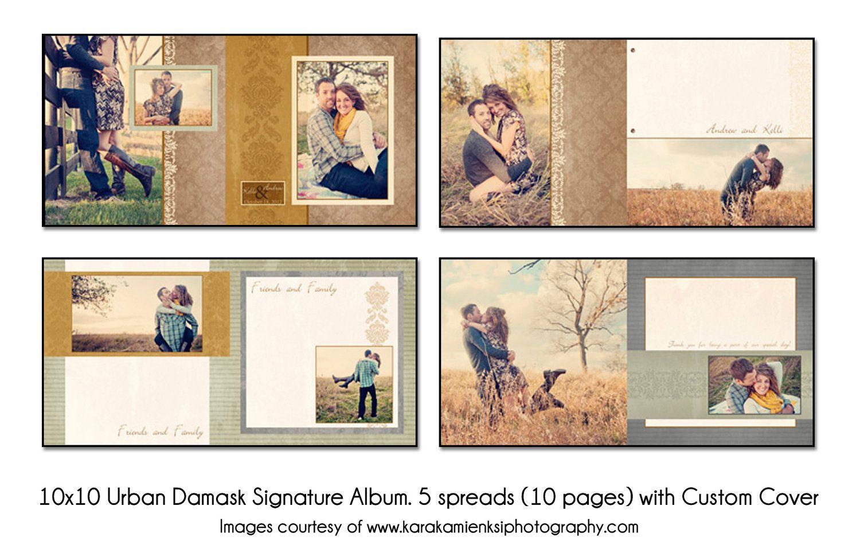 wedding photo book PSD Wedding Album Template Urban Damask Guest Book 5 spread 10