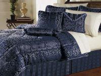 7pc Gorgeous Versailles Navy Blue Comforter Set Queen ...