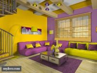 This yellow and purple room is very cool. The colors are ...