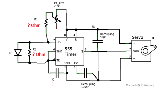 servo test circuit from 555timercircuitscom