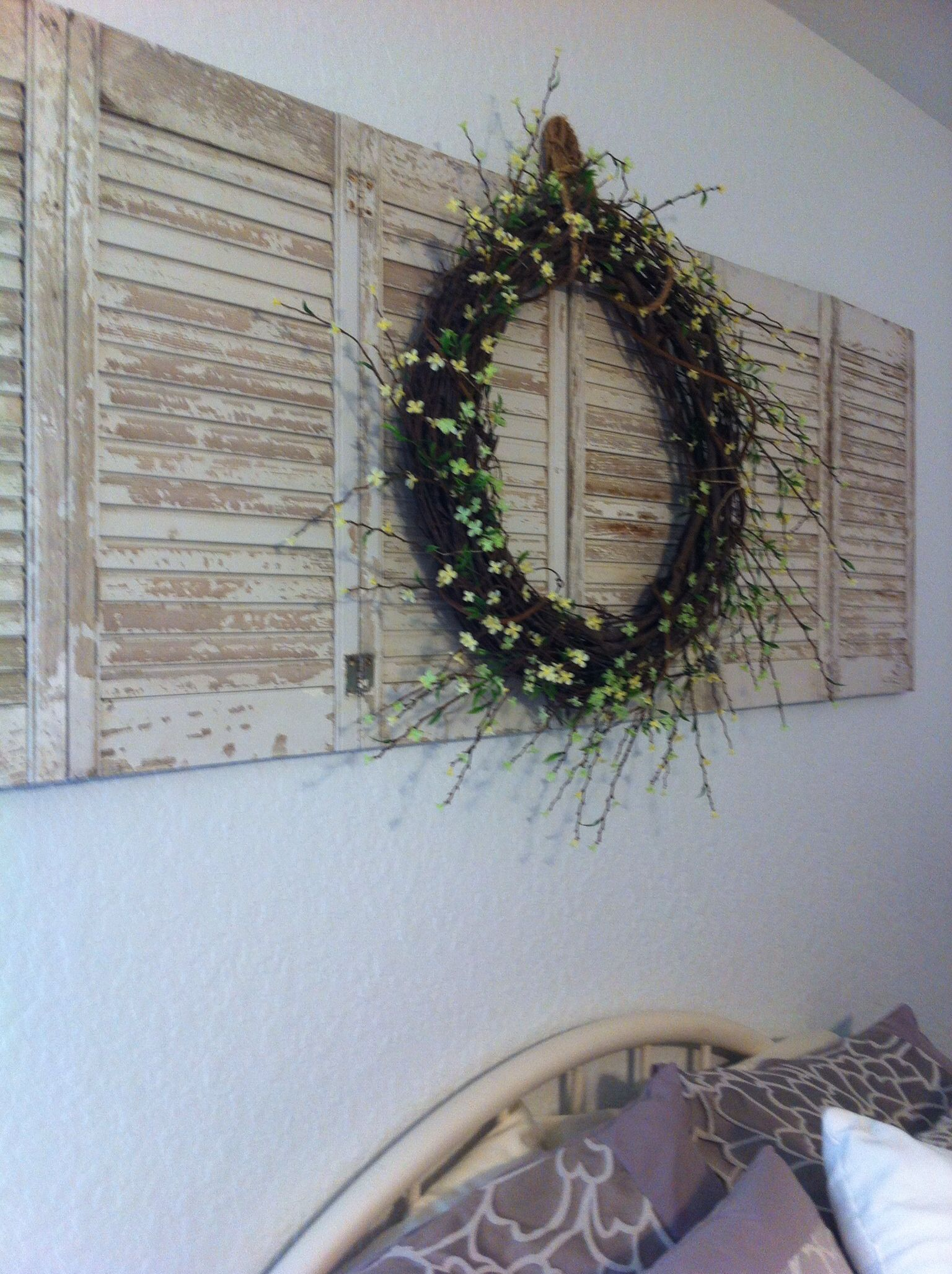 Pictures Wall Decor Ideas Diy Wreath On Shutters For Above Bed Decor Successes