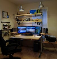 I custom built the desk from Kee Klamps and aluminum pipe