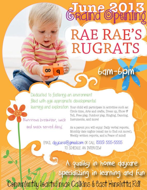 YOU PRINT--Custom made to order Flyers--dog walking, child care - daycare flyer