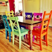 Rustoleum spray-painted chairs - these remind me of all ...