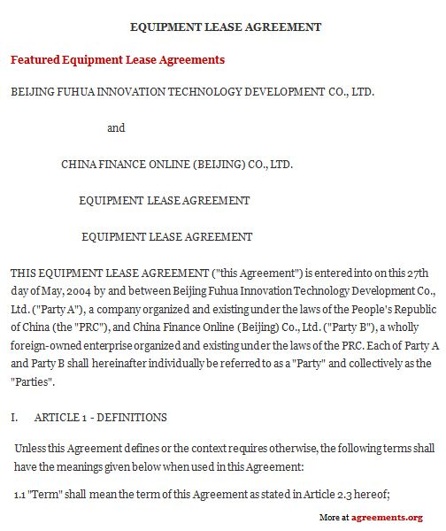 equipment rental contract sample pitchbillybullock - sample equipment rental agreement