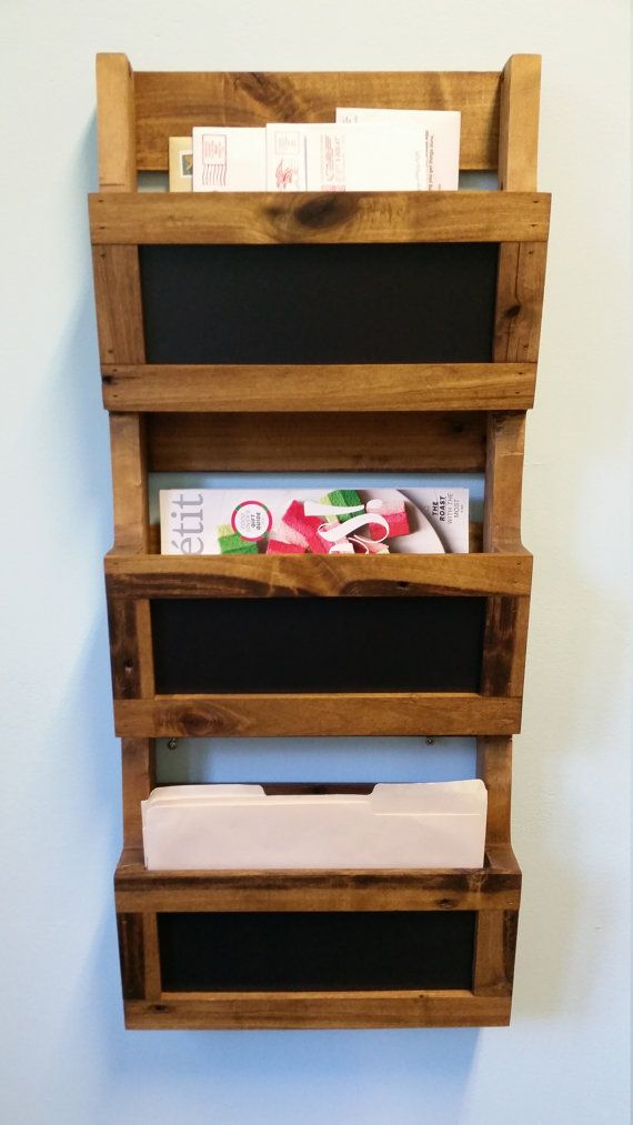 Porte Document Vertical Reclaimed Pallet Wood 3 Pocket Vertical Wall Organizer