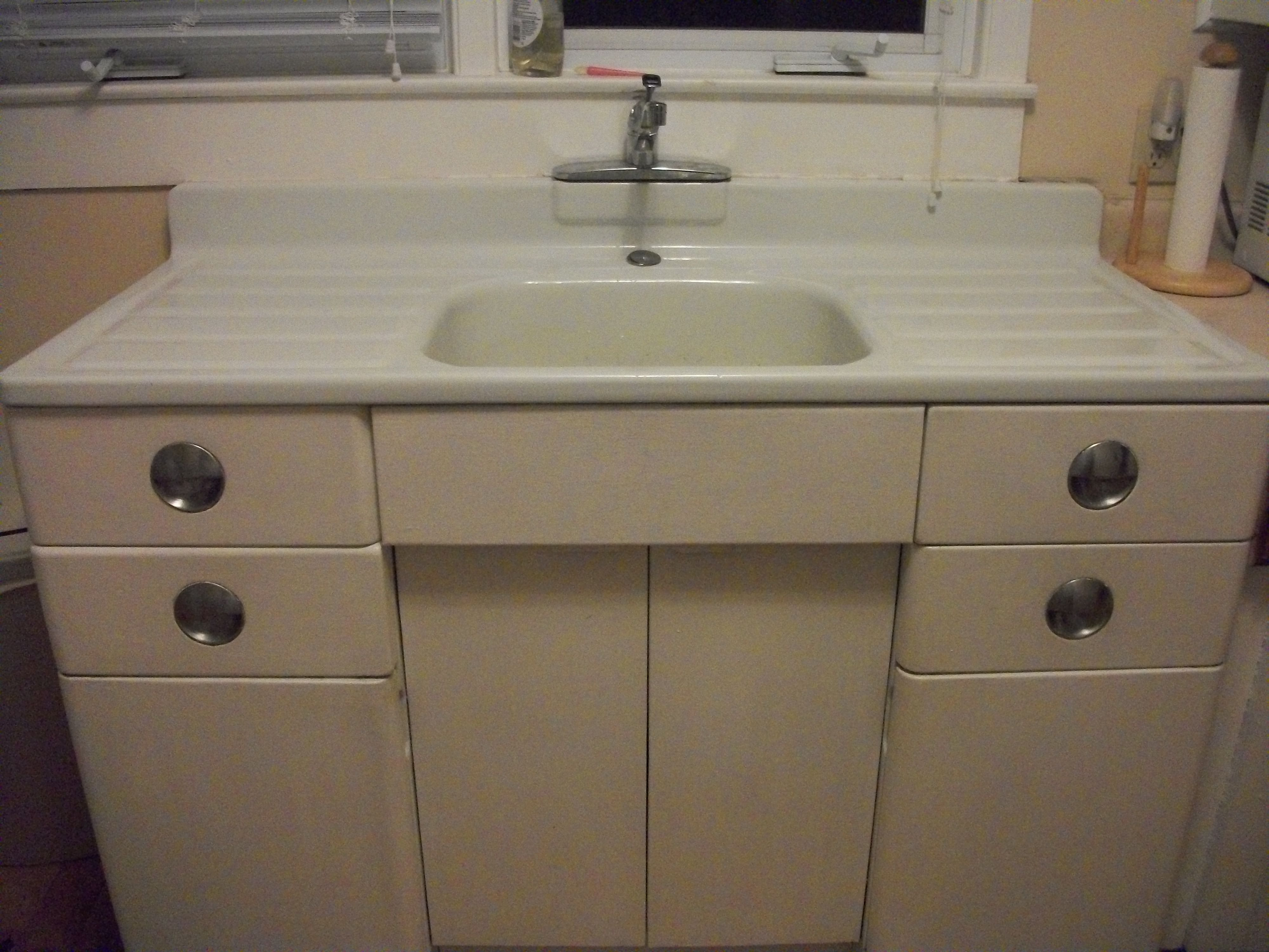 sink kitchen cabinets Metal Kitchen Cabinet and Porcelain Sink For Sale Antiques com s Sears Roebuck