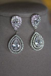 Bridal Crystal Drop Earrings, Wedding Jewelry ,Swarovski ...