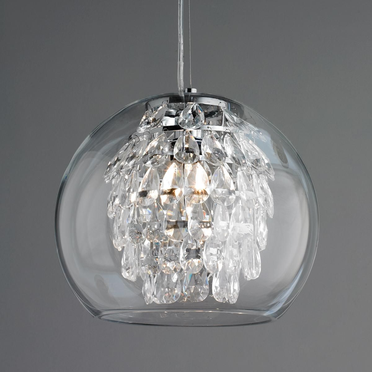 Clear Glass Pendant Light Glass Globe And Crystal Pendant Light Crystal Pendant
