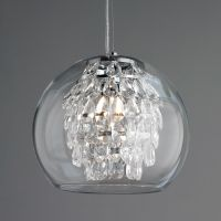 Glass Globe and Crystal Pendant Light | Crystal pendant ...